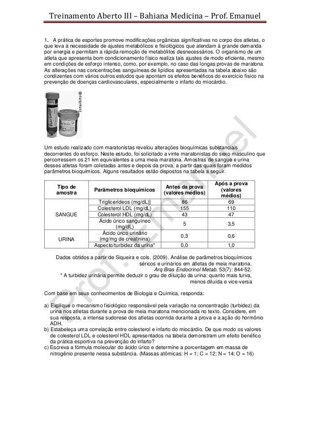 Treinamento Aberto III – Bahiana Medicina – Prof. Emanuel1. A prática de esportes promove modificações orgânicas significa...