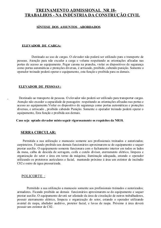 TREINAMENTO ADMISSIONAL NR 18- TRABALHOS - NA INDÚSTRIA DA CONSTRUÇÃO CIVIL SÍNTESE DOS ASSUNTOS ABORDADOS ELEVADOR DE CAR...
