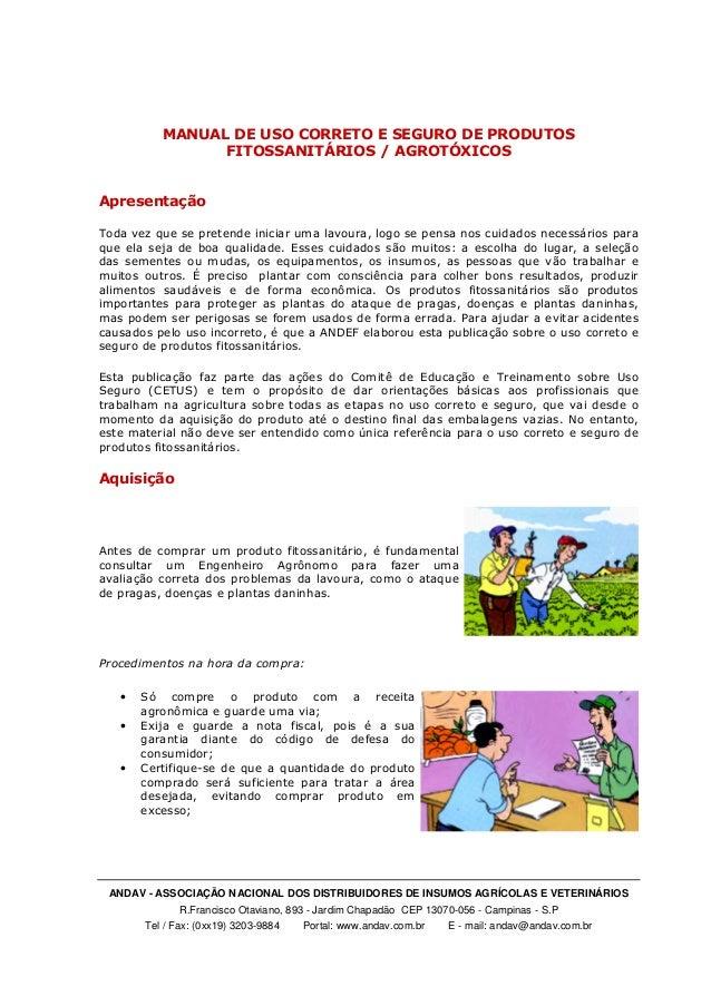 ANDAV - ASSOCIAÇÃO NACIONAL DOS DISTRIBUIDORES DE INSUMOS AGRÍCOLAS E VETERINÁRIOS R.Francisco Otaviano, 893 - Jardim Chap...