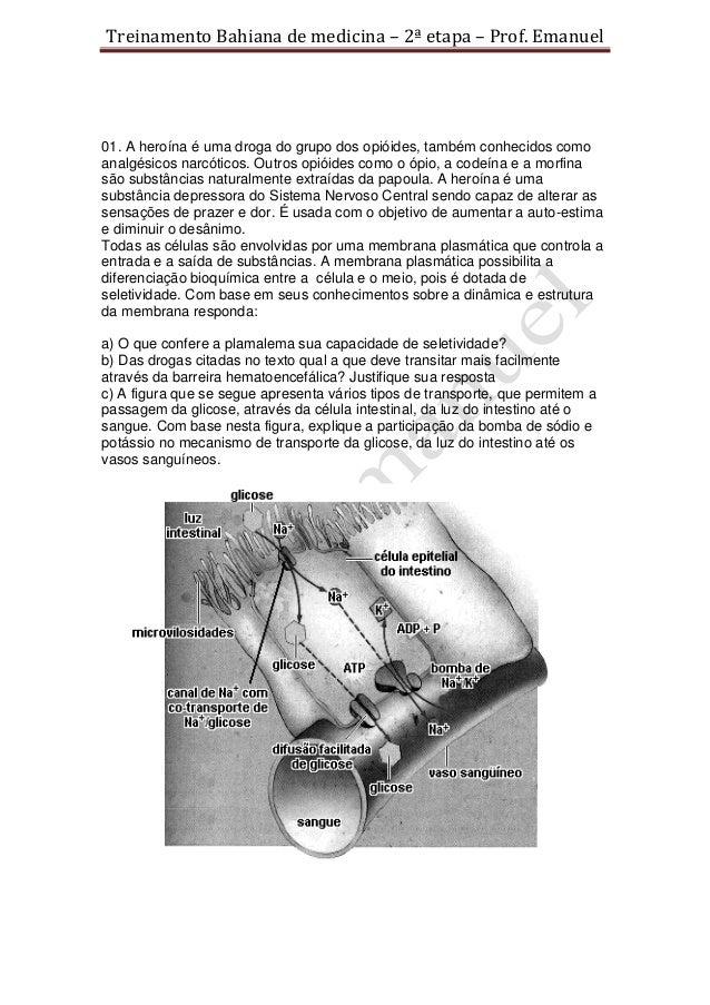 Treinamento Bahiana de medicina – 2ª etapa – Prof. Emanuel01. A heroína é uma droga do grupo dos opióides, também conhecid...