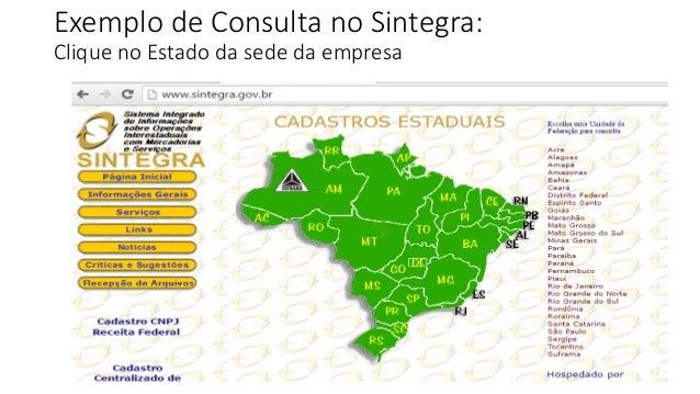 Exemplo de Consulta no Sintegra: Clique no Estado da sede da empresa