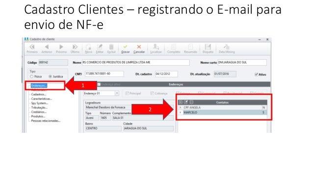 Cadastro Clientes – registrando o E-mail para envio de NF-e 1 2