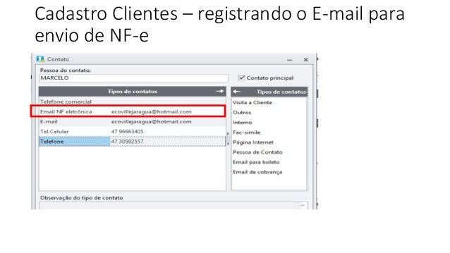 Cadastro Clientes – registrando o E-mail para envio de NF-e