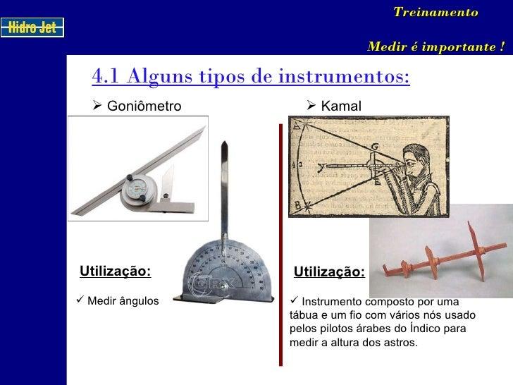 4.1 Alguns tipos de instrumentos: Treinamento Medir é importante ! <ul><li>Goniômetro </li></ul>Utilização: <ul><li>Medir ...