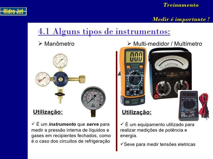 4.1 Alguns tipos de instrumentos: Treinamento Medir é importante ! <ul><li>Manômetro </li></ul>Utilização: <ul><li>É um  i...