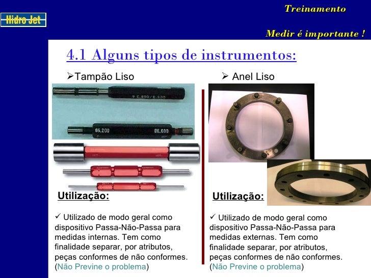 4.1 Alguns tipos de instrumentos: Treinamento Medir é importante ! <ul><li>Tampão Liso </li></ul>Utilização: <ul><li>Utili...