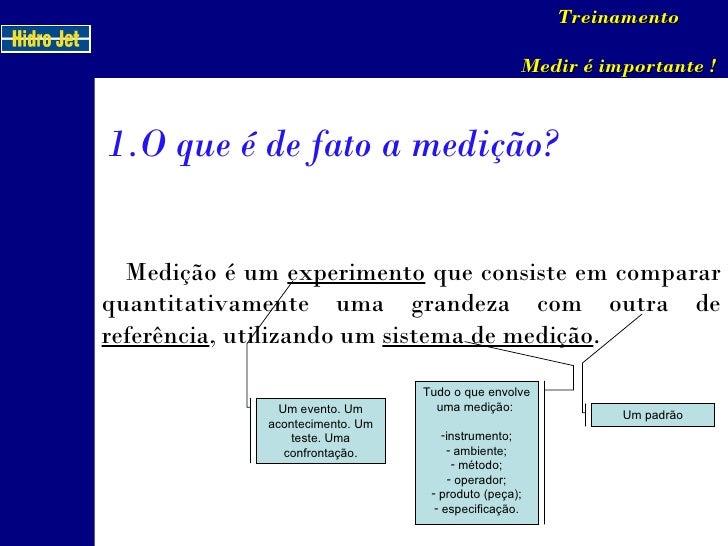 <ul><li>O que é de fato a medição? </li></ul>Treinamento Medir é importante ! Medição é um  experimento  que consiste em c...
