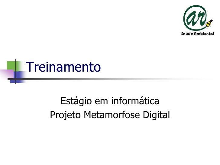 Treinamento<br />Estágioeminformática<br />ProjetoMetamorfose Digital<br />