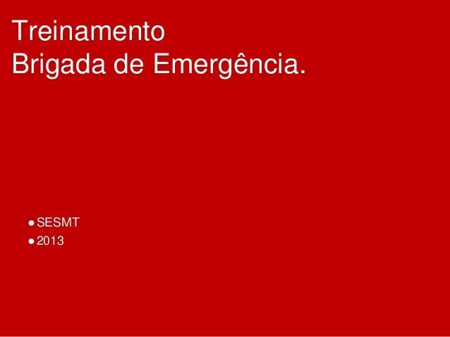 Treinamento Brigada de Emergência. ●SESMT ●2013