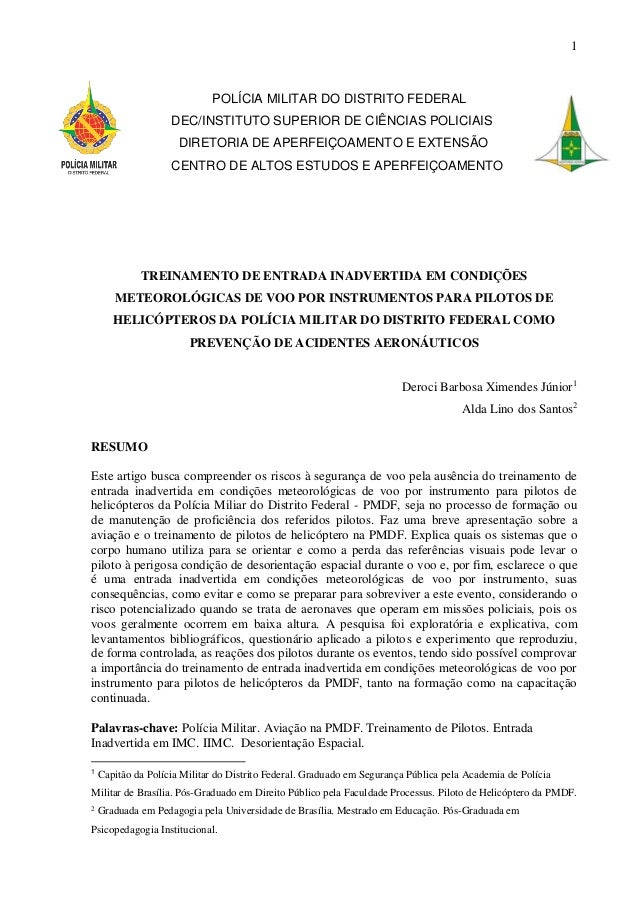 1 POLÍCIA MILITAR DO DISTRITO FEDERAL DEC/INSTITUTO SUPERIOR DE CIÊNCIAS POLICIAIS DIRETORIA DE APERFEIÇOAMENTO E EXTENSÃO...