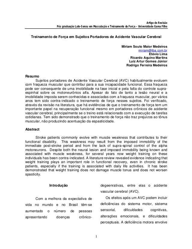 Artigo de Revisão                       Pós graduação Lato-Sensu em Musculação e Treinamento da Força – Universidade Gama ...