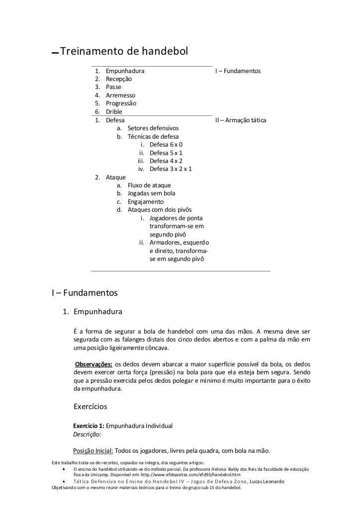▬   Treinamento de handebol                     1. Empunhadura                                             I – Fundamentos...