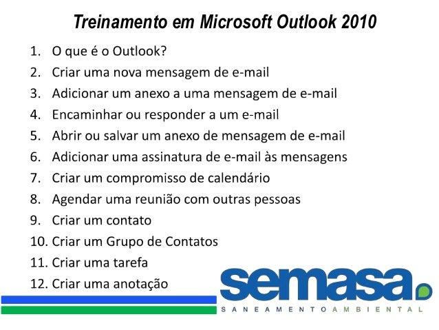 Treinamento em Microsoft Outlook 2010
