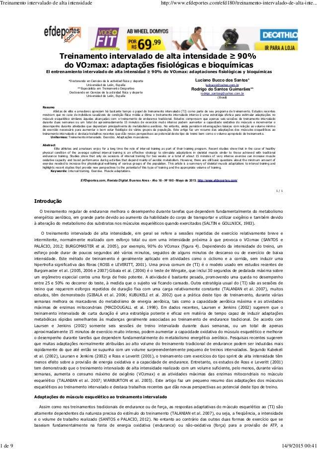 Treinamento intervalado de alta intensidade ≥ 90% do VO2max: adaptações fisiológicas e bioquímicas El entrenamiento interv...