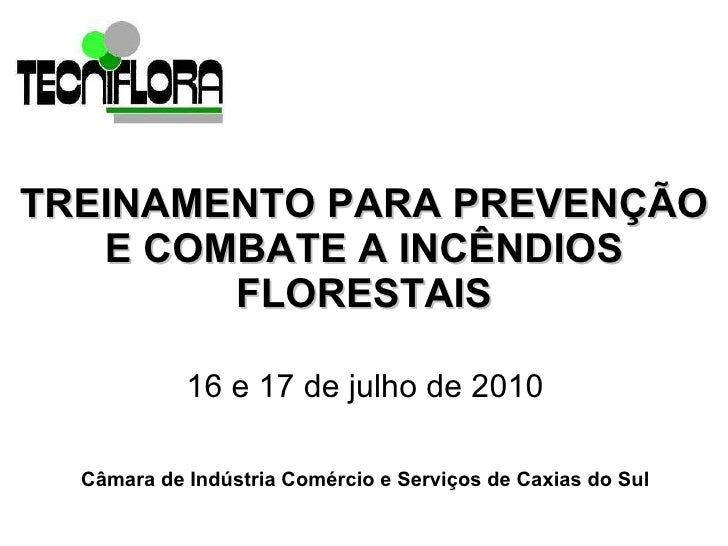 TREINAMENTO PARA PREVENÇÃO E COMBATE A INCÊNDIOS FLORESTAIS 16 e 17 de julho de 2010  Câmara de Indústria Comércio e Servi...