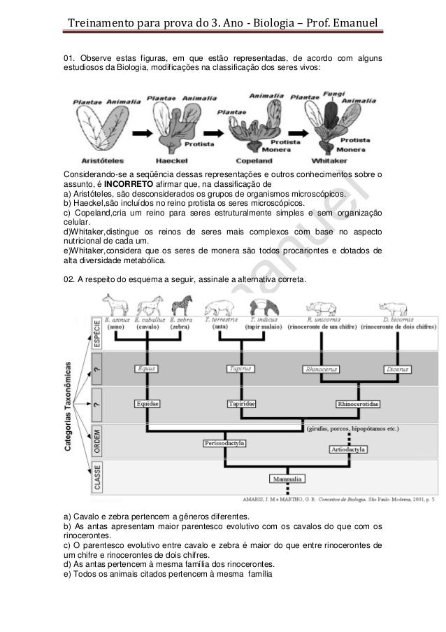 Treinamento para prova do 3. Ano - Biologia – Prof. Emanuel01. Observe estas figuras, em que estão representadas, de acord...
