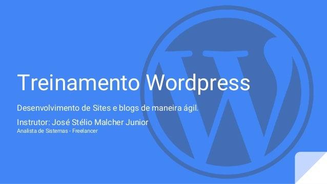 Treinamento Wordpress Desenvolvimento de Sites e blogs de maneira ágil. Instrutor: José Stélio Malcher Junior Analista de ...