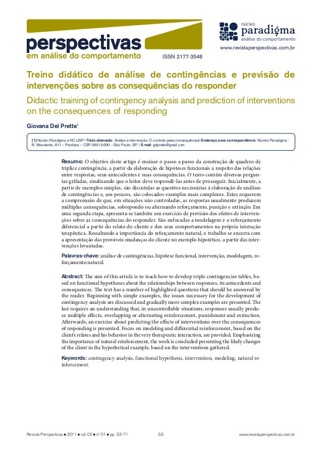 Treino didático de análise de contingências e previsão de  intervenções sobre as consequências do responder  Didactic trai...