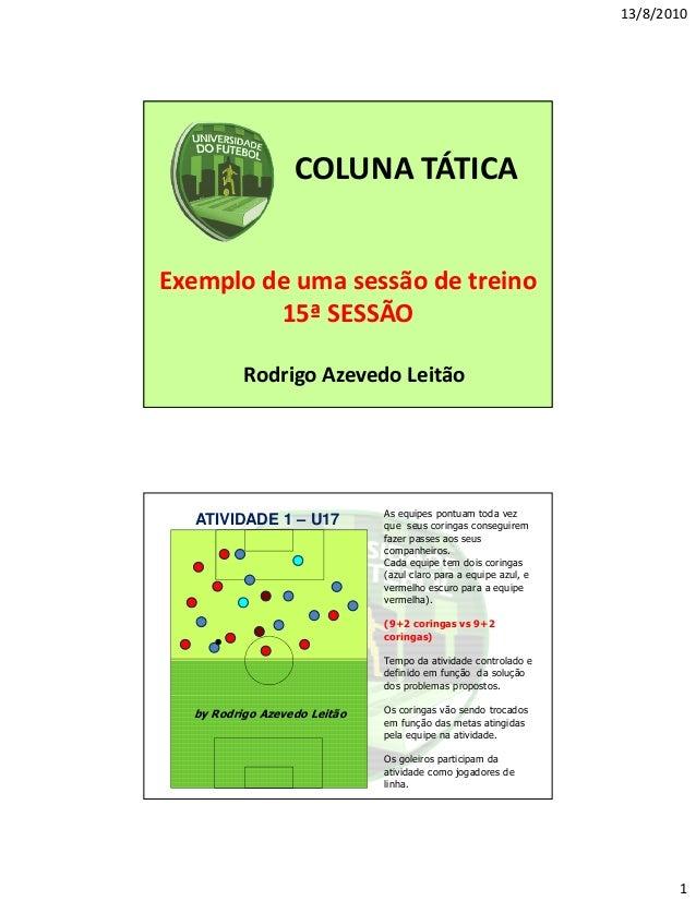 13/8/2010  COLUNA TÁTICA  Exemplo de uma sessão de treino 15ª SESSÃO Rodrigo Azevedo Leitão  ATIVIDADE 1 – U17  As equipes...