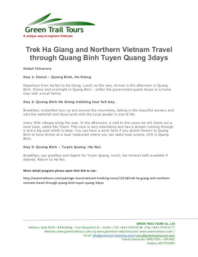 A unique way to explore Vietnam GREEN TRAIL TOURS Co., Ltd Address: Suite #316 – B4 Building – Tran Dang Ninh St – Ha Noi ...
