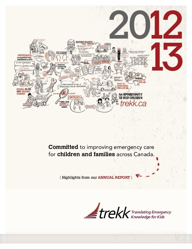 Committed to improving emergency care for children and families across Canada. 2012 13 { Highlights from our ANNUAL REPORT...
