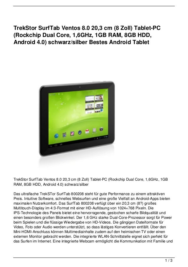 TrekStor SurfTab Ventos 8.0 20,3 cm (8 Zoll) Tablet-PC(Rockchip Dual Core, 1,6GHz, 1GB RAM, 8GB HDD,Android 4.0) schwarz/s...