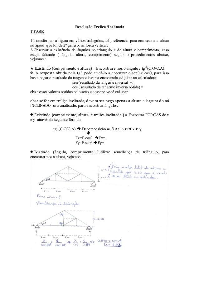 Resolução Treliça /Inclinada1ªFASE1-Transformar a figura em vários triângulos, dê preferencia para começar a analisarno ap...