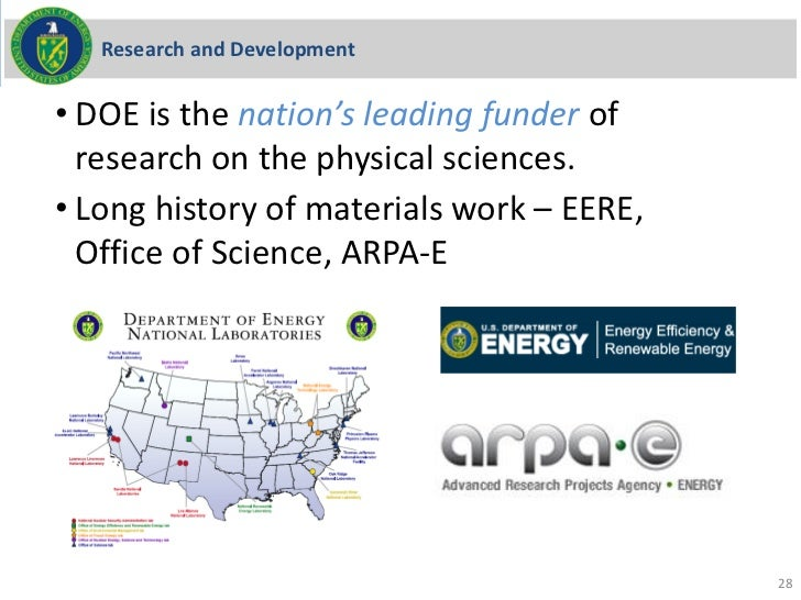 Research and Development• DOE is the nation's leading funder of  research on the physical sciences.• Long history of mater...