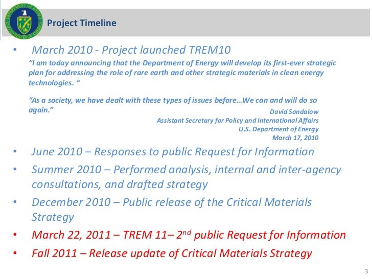 """Project Timeline•   March 2010 - Project launched TREM10    """"I am today announcing that the Department of Energy will deve..."""
