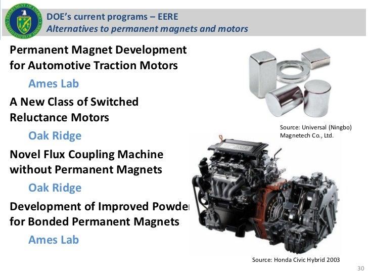DOE's current programs – EERE     Alternatives to permanent magnets and motorsPermanent Magnet Developmentfor Automotive T...
