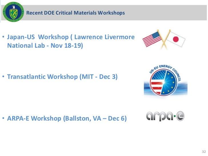 Recent DOE Critical Materials Workshops• Japan-US Workshop ( Lawrence Livermore  National Lab - Nov 18-19)• Transatlantic ...