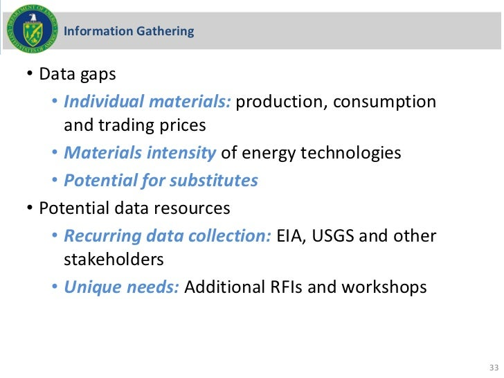 Information Gathering• Data gaps   • Individual materials: production, consumption     and trading prices   • Materials in...