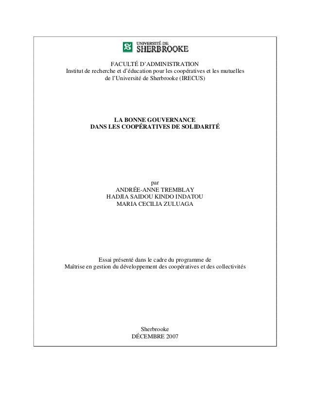 FACULTÉ D'ADMINISTRATIONInstitut de recherche et d'éducation pour les coopératives et les mutuelles                 de l'U...