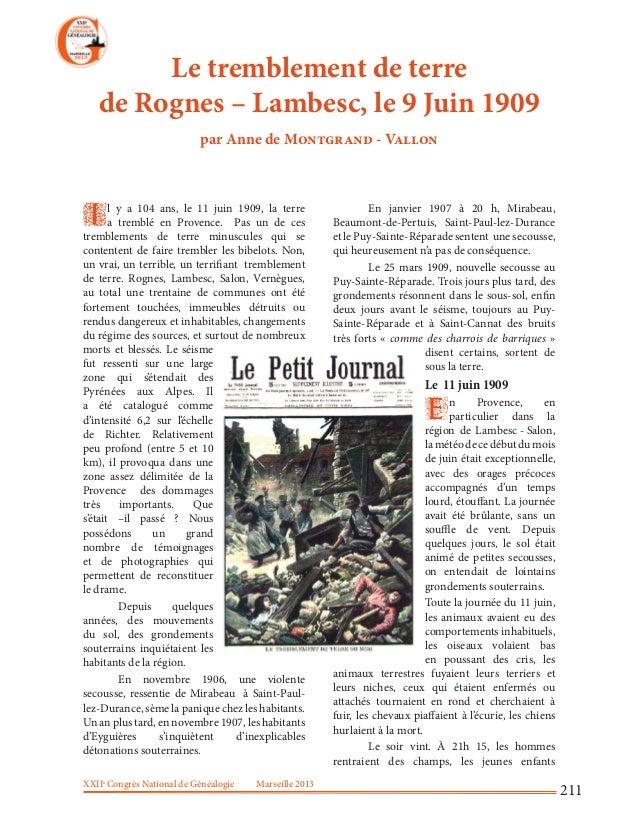 XXIIeCongrès National de Généalogie Marseille 2013211Le tremblement de terrede Rognes – Lambesc, le 9 Juin 1909par Anne de...