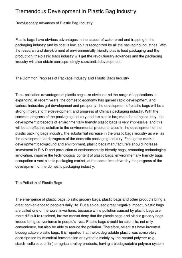 Essay on polythene bags pollution