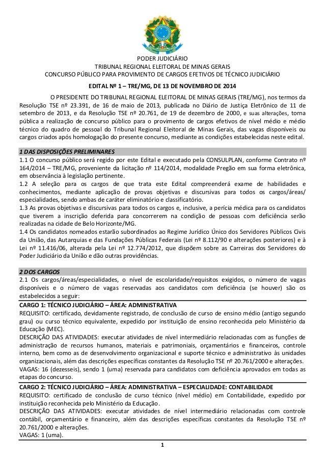 1 PODER JUDICIÁRIO TRIBUNAL REGIONAL ELEITORAL DE MINAS GERAIS CONCURSO PÚBLICO PARA PROVIMENTO DE CARGOS EFETIVOS DE TÉCN...