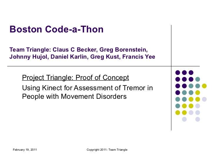 Boston Code-a-Thon Team Triangle: Claus C Becker, Greg Borenstein, Johnny Hujol, Daniel Karlin, Greg Kust, Francis Yee Pro...