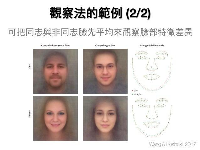 Wang & Kosinski, 2017 觀察法的範例 (2/2) 可把同志與非同志臉先平均來觀察臉部特徵差異