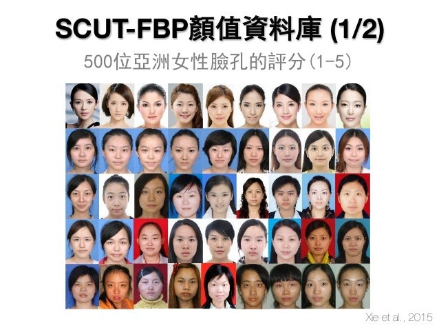 SCUT-FBP顏值資料庫 (1/2) 500位亞洲女性臉孔的評分(1-5) Xie et al., 2015