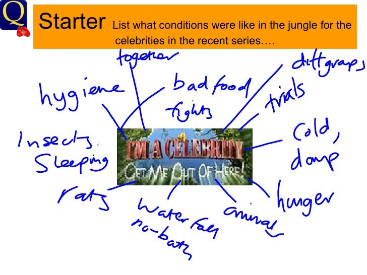 Starter   List what conditions were like in the jungle for the           2               celebrities in the recent series….
