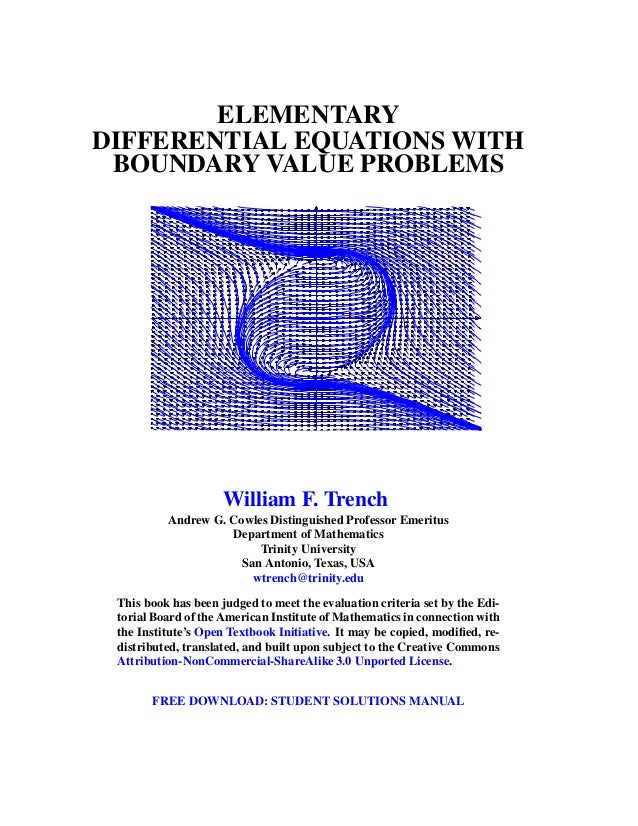 Elementary differential equations and boundary value problems elementary differential equations with boundary value problems william f trench andrew g cowles distinguished fandeluxe Images