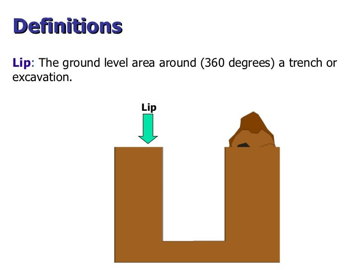 Lip Lip :  The ground level area around (360 degrees) a trench or excavation. Definitions
