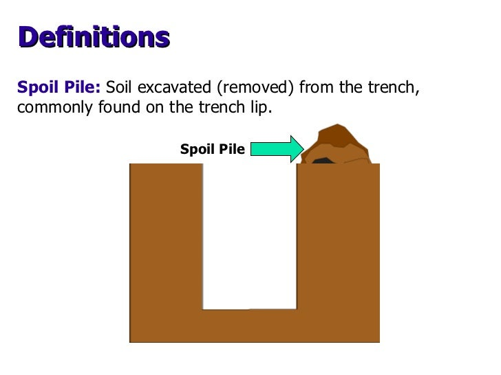 Spoil Pile Spoil Pile:   Soil excavated (removed) from the trench,  commonly found on the trench lip. Definitions