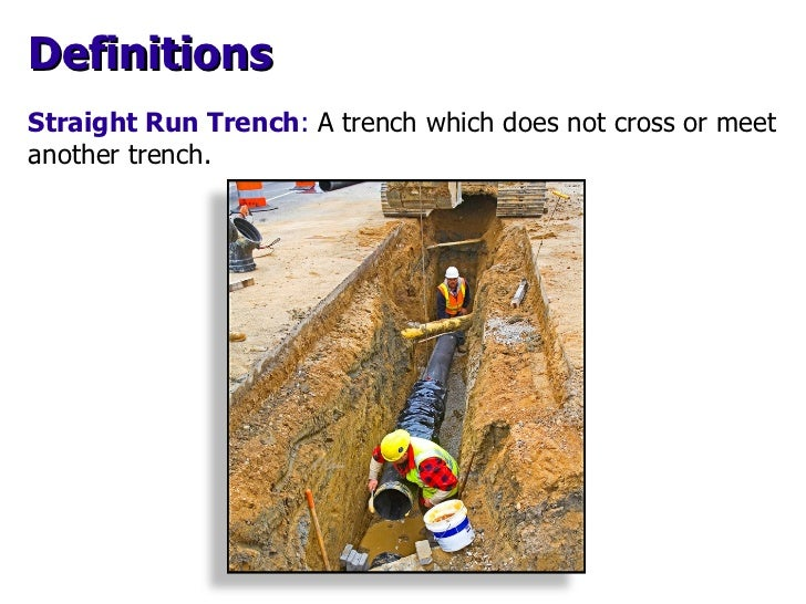 Straight Run Trench :   A trench which does not cross or meet another trench. Definitions
