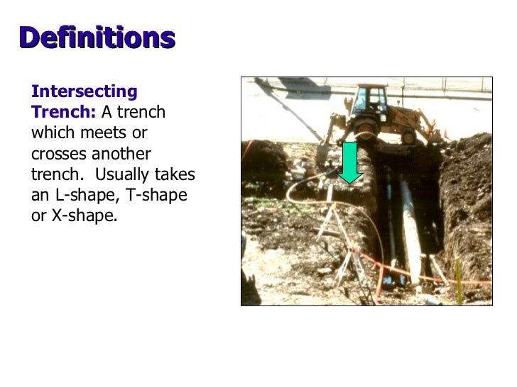 Intersecting Trench:   A trench which meets or crosses another trench.  Usually takes an L-shape, T-shape or X-shape. Defi...