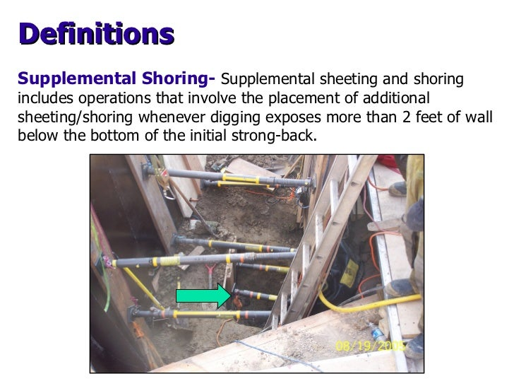 Supplemental Shoring-   Supplemental sheeting and  shoring includes operations that involve the placement of additional sh...