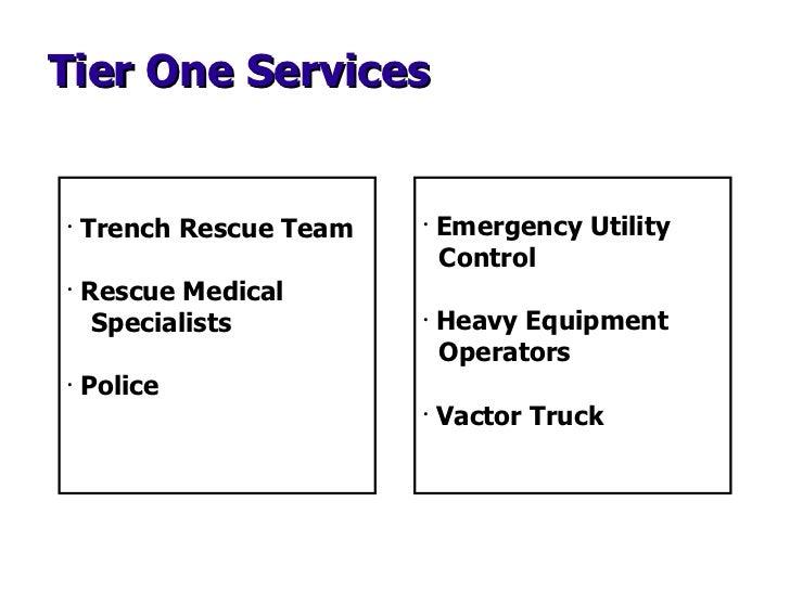 Tier One Services <ul><li>Trench Rescue Team </li></ul><ul><li>Rescue Medical  Specialists </li></ul><ul><li>Police </li><...