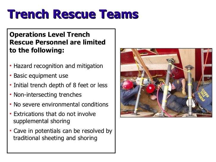 Trench Rescue Teams <ul><li>Operations Level Trench Rescue Personnel are limited to the following: </li></ul><ul><li>Hazar...