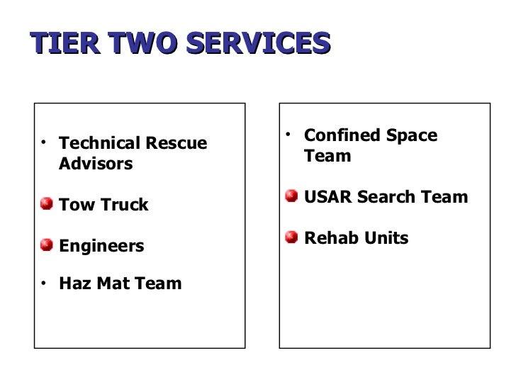 TIER TWO SERVICES <ul><li>Technical Rescue  Advisors </li></ul><ul><li>Tow Truck </li></ul><ul><li>Engineers </li></ul><ul...