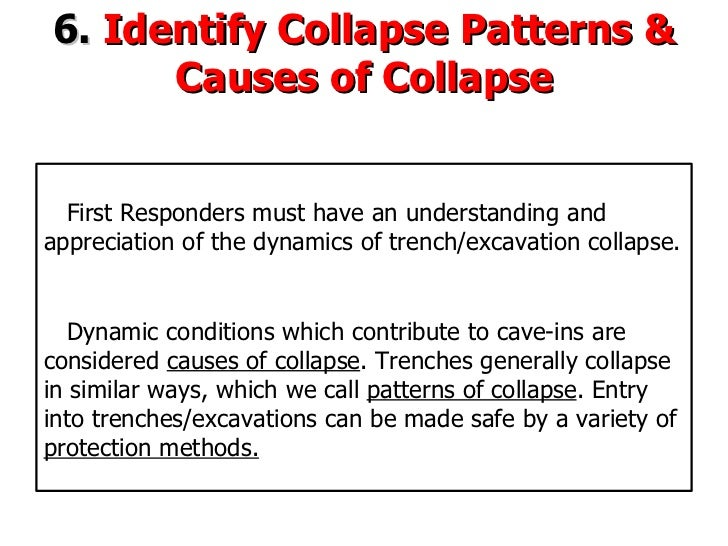 6.  Identify Collapse Patterns & Causes of Collapse First Responders must have an understanding and appreciation of the dy...